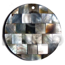 hand made 50mm square blacklip blocking chips Resin Pendants