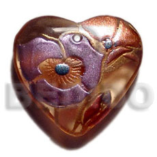Heart 40mm transparent brown Resin Pendants