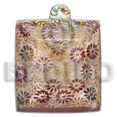 45mm square clear white resin Resin Pendants