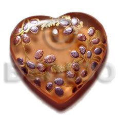 hand made Heart 35mm transparent brown resin Resin Pendants