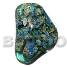 freeform / crushed limestones in resin 55mmx40mmx10mm - Resin Pendants