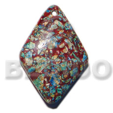 diamond / crushed limestones in resin 40mmx30mmx8mm - Resin Pendants