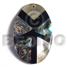 55mmx35mm aminated oval paua/blacklip shell combination  5mm black resin backing - Resin Pendants