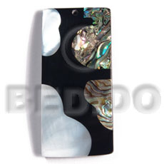 55mmx27mm laminated rectangular paua kabibe shell Resin Pendants