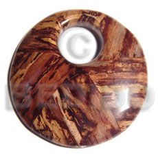 70mm  round laminated wood  banana bark  23mm hole / thickness  9mm - Resin Pendants