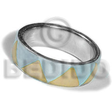 hand made Inlaid hammershell in stainless 10mm Rings