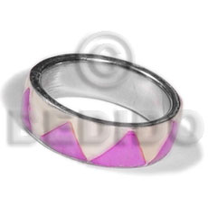inlaid hammershell in stainless 10mm metal ring/  lilac and nat. white combination - Rings