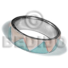 inlaid hammershell in stainless 10mm metal ring / aqua blue and nat. white combination - Rings