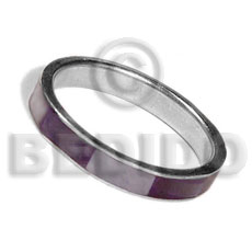 inlaid hammershell in stainless 5mm metal ring / violet and nat. white combination - Rings
