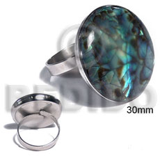 big accent haute hippie ring /adjustable metal/ 30mm round and embossed laminated paua abalone cracking - Rings