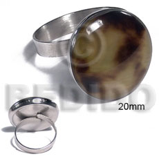 big accent haute hippie ring /adjustable metal/ 20mm round and embossed laminated brownlip tiger - Rings