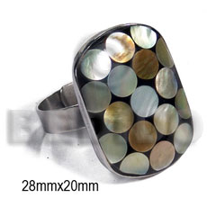 big accent haute hippie ring /adjustable metal/ 28mmx20mm rectangular  rounded edges and embossed laminated brownlip circles on black resin - Rings