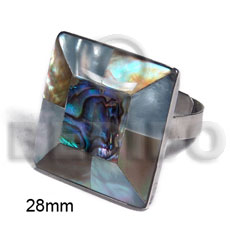 big accent haute hippie ring /adjustable metal/ 28mm square  embossed laminated paua abalone, brownlip and hammershell combination - Rings