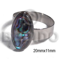 accent haute hippie ring /adjustable metal/ 20mmx11mm oval  embossed paua abalone - Rings