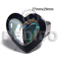 big accent haute hippie ring /adjustable metal/ 27mmx29mm heart  embossed and laminated paua abalone and hammershell combination  black resin edges - Rings
