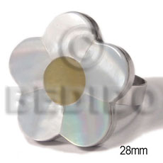 big accent haute hippie 28mm flower  / adjustable metal ring/ laminated hammershell / MOP combination - Rings