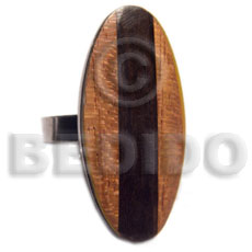 big accent haute hippie oval 40mmx30mm / adjustable metal ring/  polished robles wood and camagong tiger wood combination - Rings