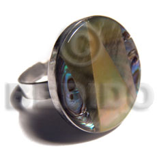 big accent haute hippie round 25mm / adjustable metal ring/  laminated paua, blacklip and MOP combination - Rings
