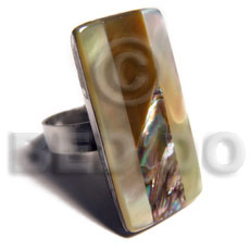 big accent haute hippie rectangular32mmx18mm / adjustable metal ring/  laminated paua,brownlip and MOP shell combination - Rings