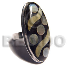big accent haute hippie ring /adjustable metal  extended flat edges / 42mmx22mm oval embossed and laminated MOP/ blacklip shells - Rings