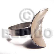 big accent haute hippie quarter moon 25mmx18mm / adjustable metal ring /  laminated kabibe shell - Rings