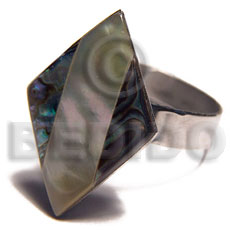 big accent haute hippie diamond 22mmx15mm / adjustable metal ring /  laminated MOP and paua combination - Rings