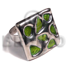 glistening neon green abalone /  square 25mmx25mm / adjustable ring/  molten silver metal series / electroplated - Rings