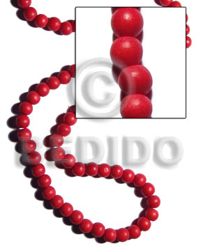 10mm natural white  round wood beads dyed in red - Round Wood Beads