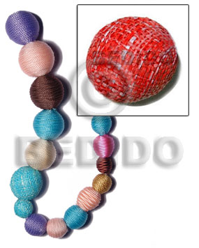 15mm natural white round wood beads wrapped in red raffia / price per piece - Round Wood Beads