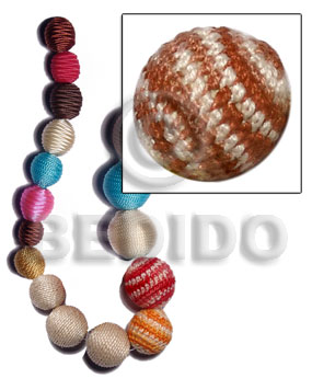 10mm natural white round wood beads wrapped in reddish brown/white crochet / price per piece - Round Wood Beads