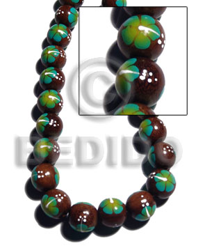 15mm robles round beads  handpainted back to back aqua green / white flower - Round Wood Beads