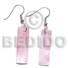 Dangling 30x10mm pastel pink hammershelll Seed Earrings