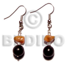 Dangling Black Buri Beads Red Corals