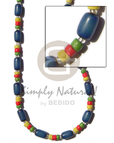 Blue buri tube yellored green coco Seeds Necklace