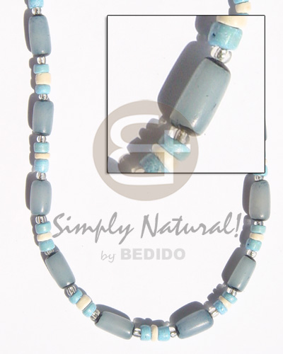Turq. blue buri tube turq. Seeds Necklace