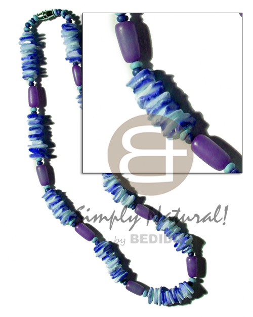 hand made Buri seed tube colored Seeds Necklace