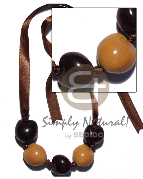 hand made Kukui nuts ribbon choker Seeds Necklace