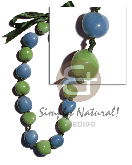 hand made Painted kukui nuts alt. Seeds Necklace