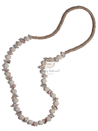 4-5mm coco Pokalet nat.  luhuanus chips and buri seed beads combination / 28in - Seeds Necklace