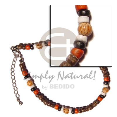 4-5mm coco pokalet natural brown black red Shell Anklets
