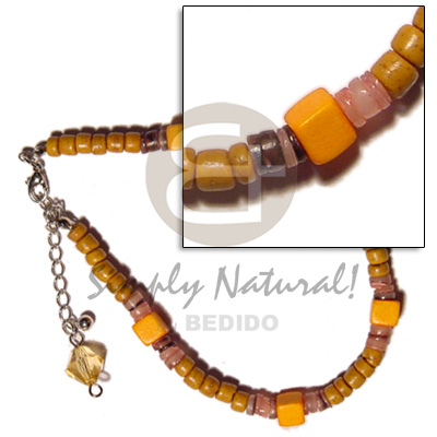hand made Mustard 4-5mm coco pokalet. hammershell Shell Anklets