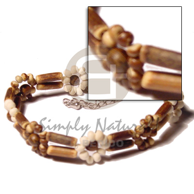 2 rows sig-id wood tube Shell Anklets