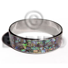 Laminated paua blocking in 3 4 Shell Bangles