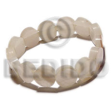 Elastic 20mm round hammershell Shell Bangles