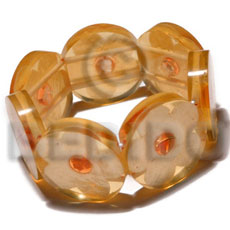 30mm round bright orange clear resin ( 7mm thickness )  laminated capiz shell flower elastic bangle / dark orange capiz nectar accent - Shell Bangles