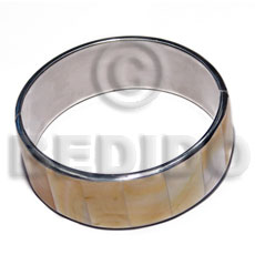laminated inlaid MOP shell  in 1 inch folded hinged stainless metal /  65mm in diameter - Shell Bangles