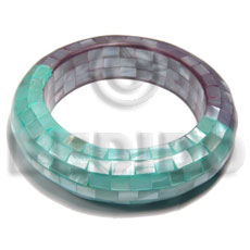 chunky bangle combination of violet and light green hammershell blocking /back to back  shell / ht= 20mm inner diameter = 65mm thickness 17mm - Shell Bangles