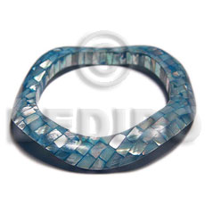 Blue kabibe shell blocking Shell Bangles