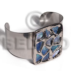 haute hippie 38mmx28mm metal cuff bangle  48mmx40mm rectangular glistening blue abalone / molten silver metal series / electroplated - Shell Bangles