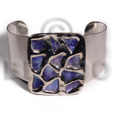haute hippie 38mmx28mm metal cuff bangle  48mmx40mm rectangular glistening purple abalone / molten silver metal series / electroplated / sr-bc-02 - Shell Bangles